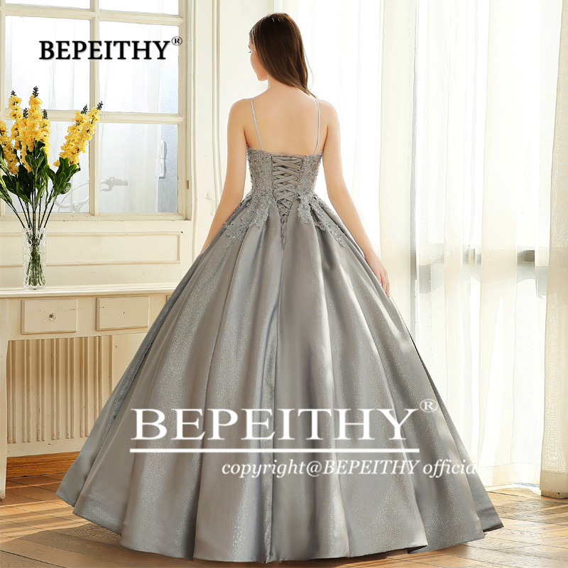 Image 3 - BEPEITHY Robe De Soiree Ball Gown Evening Dress Spaghetti Straps 2019 Lace Bodice Glitter Fabric Abiye Prom Party Gown-in Evening Dresses from Weddings & Events