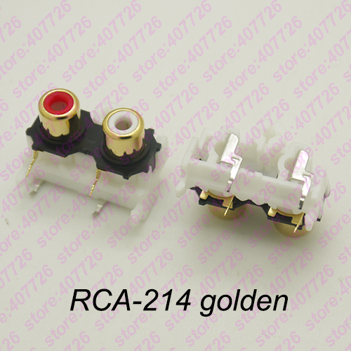 HTB1XLv2c7OWBuNjSsppq6xPgpXaZ - (2PCS/PACK) PCB  Mounting Stereo Audio Video Jack RCA Female Connector TWO hole (W+R) RCA-213 Golden