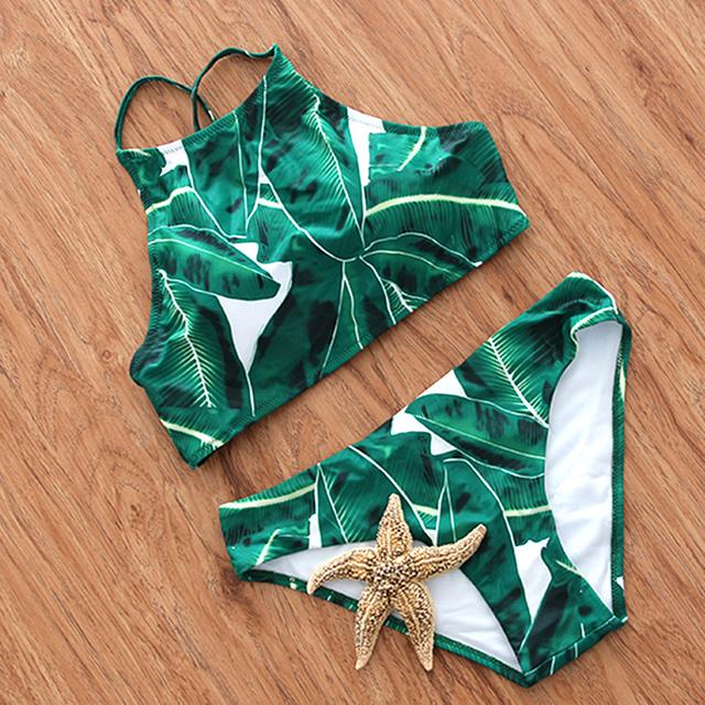 Tie Dye Bikini Green Swimsuit Leaf Print Swimwear