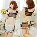 new explosion models Women's sexy underwear Transparent gauze vest stitching color lace flounces Sexy Maid sexy lingerie AQ237