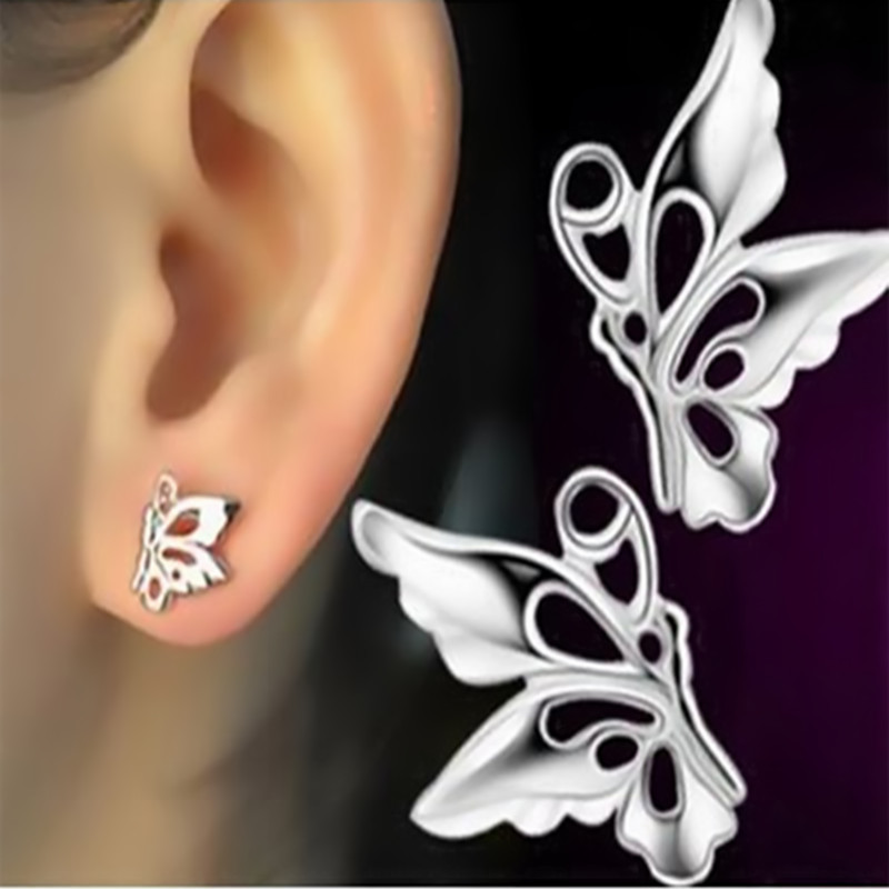EK395 Tiny Pendientes Minimalist Chic Elegant Lady Love Cute Animal Lucky Butterfly Wing Stud Earrings for Women Jewelry Brincos