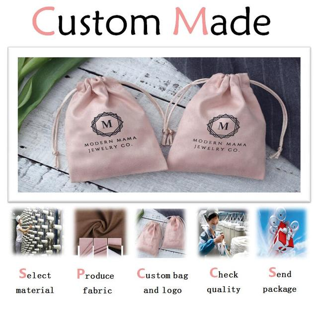 Custom Jewelry Gift Bags Customized Drawstring Pouch in Any Style/Material/Size/Color/Rope Print Individual Logo For Bags/ Box