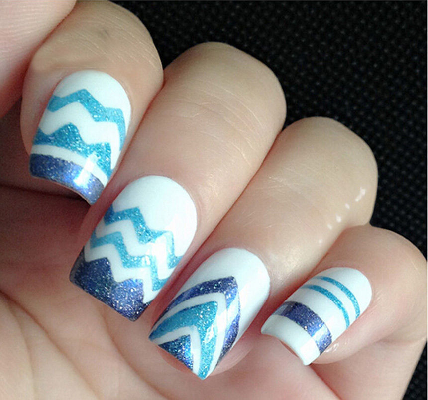 15pcs French Nail Art Stickers Design ZiG ZaG Tips Decal White ...