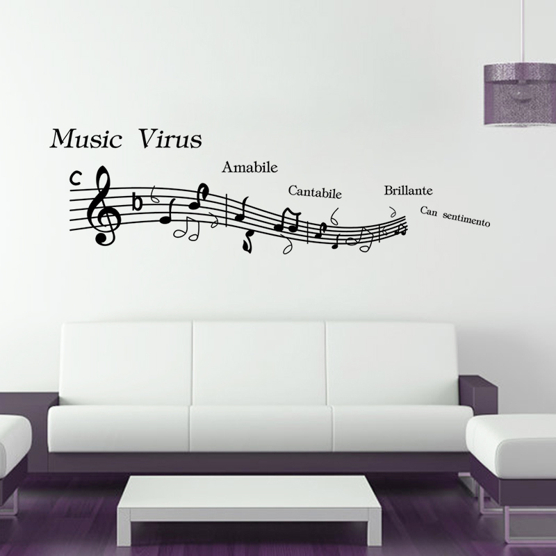Us 3 36 20 Off Large Size 148 42cm Music Wall Sticker Bedroom Decor Note Decals Wallpaper In Stickers From Home Garden On