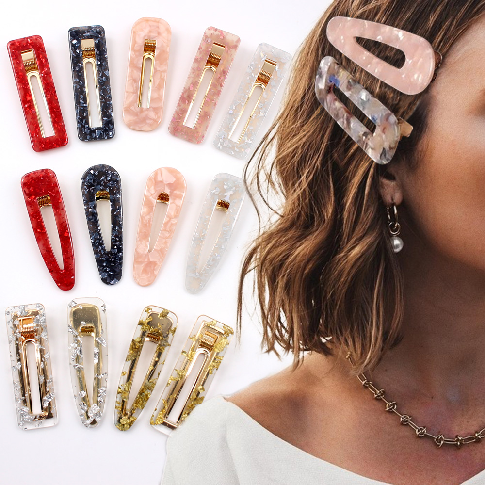 2019 New Women Girls Acrylic Hollow Waterdrop Rectangle Hair Clips Tin Foil Sequins Hairpins Barrettes Headband Hair Accessories