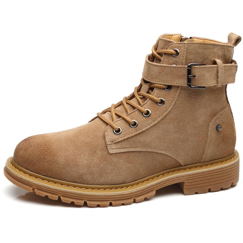 Martin Lacets Chaussures Bottes Chaussures Plat Travail Mâle Bota Homme Moto Noir Bottines E up Cheville Masculina En Cowboy Cuir marron DI9WH2eEY