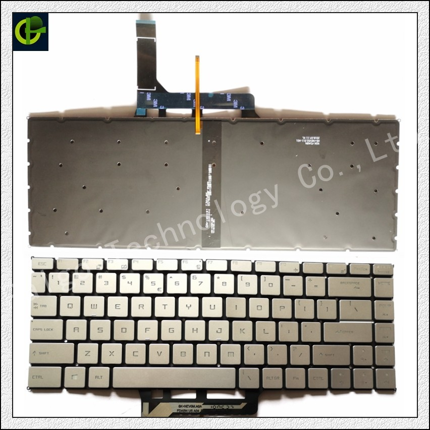 Английская клавиатура с подсветкой для MSI GF63 MSI GS65 8RC 8RD 8RE Stealth 8RF THIN GS65VR MS-16Q1 ноутбука США - Цвет: Белый
