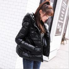 28cb014c278a5 Новинка зимы 2018, корейский простой тонкий короткий пуховик, женская  мягкая стеганая теплая пуховая куртка с капюшоном, белый п.