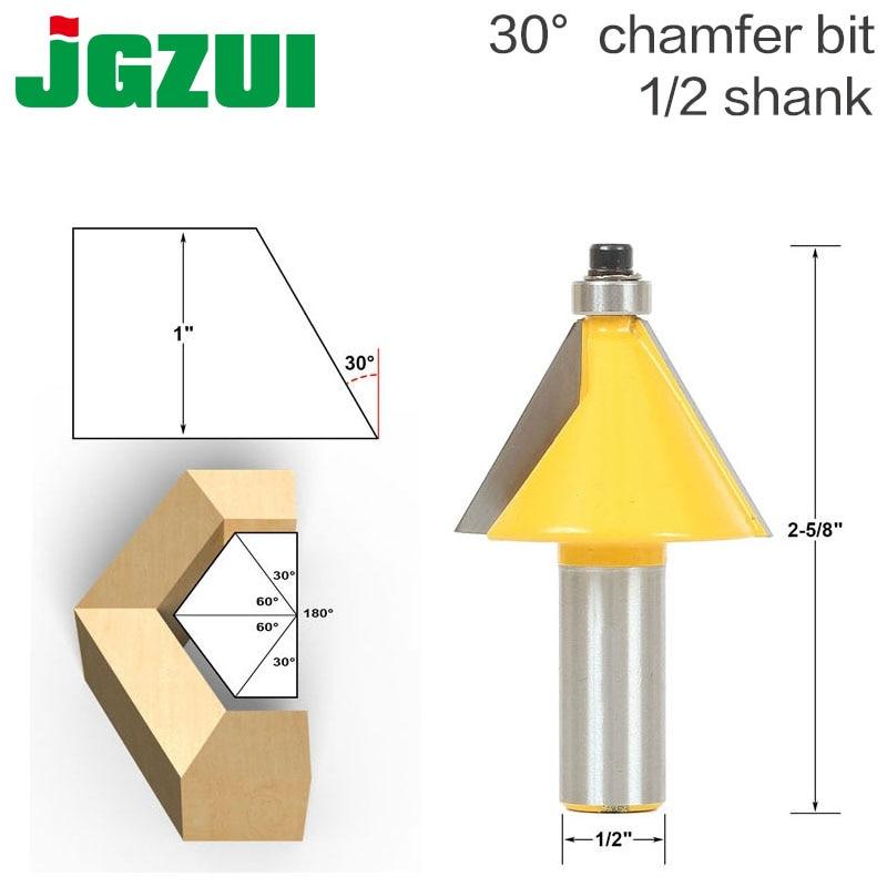 1pc 30 Degree Chamfer & Bevel Edging Router Bit - 1/2 Shank - woodworking cutter woodworking bits 15 degree chamfer