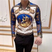 Büyük boy 6XL gömlek moda kulübü giyim erkek marka tasarımcısı çiçek baskı gömlek ince uzun kollu barok parti gömlek