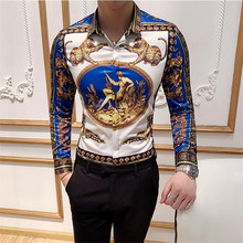 Grote Maat 6XL Mannen Shirt Fashion Club Kleding Heren Merk Designer Bloemen Printing Shirt Slanke Lange Mouwen Barokke Party shirt