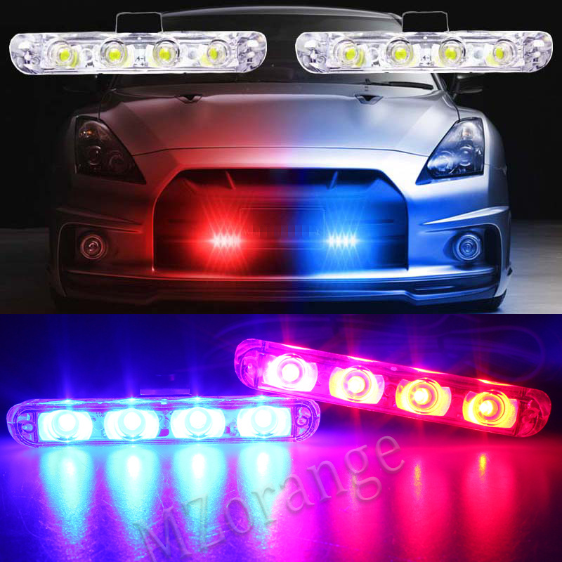2x4 Led automobiles Strobe Warning light DC 12V Car Truck Light Flashing Firemen DRL Day Running Light Ambulance Police lights