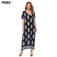 PGSD Summer Bohemian holiday women clothes casual fashion Pullover Short sleeve V-Neck Loose Flower Printing Long Dress female