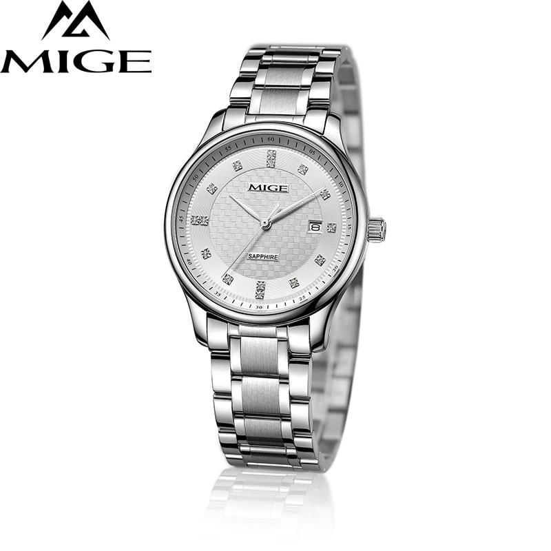 2018 Top Brand Mige Business Couples Watches Steel Case White Face Japan Movement Lover Watch Waterproof Men Quartz Wristwatch