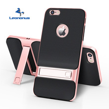 купить Hybrid TPU+PC Phone Case For Apple iPhone 7 Plus 6 6S Plus XS Max XR Hard Frame Cover With Bracket Holder For iPhone 7 Plus Capa for iPhone 8 Plus X 11 Pro Max PC Bumper Stand Case по цене 175.2 рублей