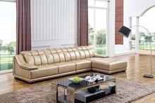 Diseño Home Living Room Sofa set, por con grano superior sofá de cuero, L en forma de Color amarillo elegante sofá fijó 2015