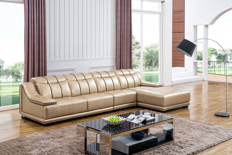 Home Design Living Room Sofa Set Made With Top Grain Real Leather L Shaped Yellow Color Smart Corner