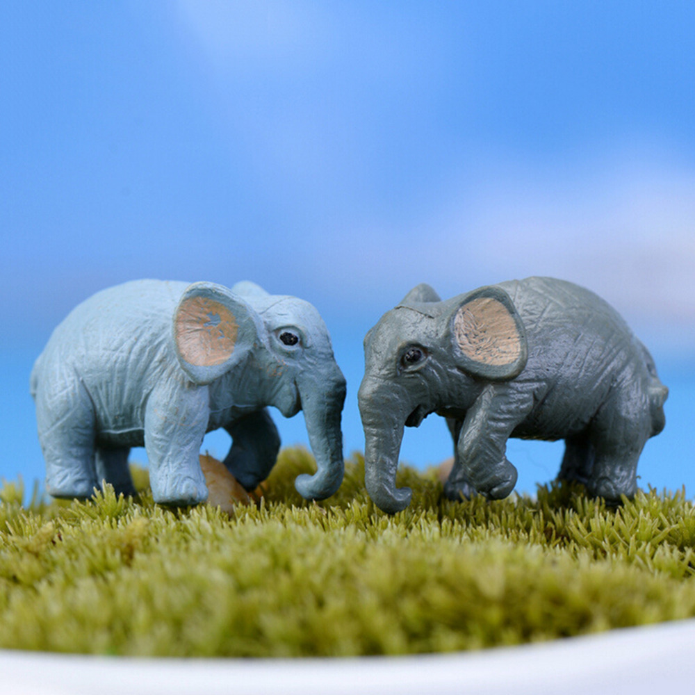 2PCS Resin Crafts artificial elephant gnomes moss resin crafts figurines home garden decoration fairy garden miniatures