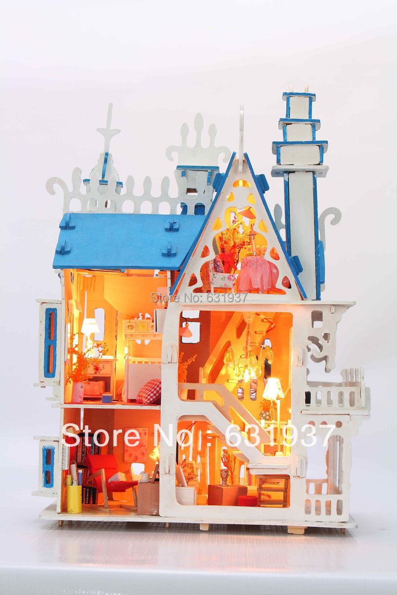 ФОТО Diy Doll  House Model Building 3D Miniature dream villa valentine's day gift Wooden dollhouse toy