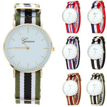 2016 FHD Men Watch Top Brand Waterproof Stainless Steel Date Quartz Wristwatches Blue And Red Nylon Cloth Strap Watcheswholesale