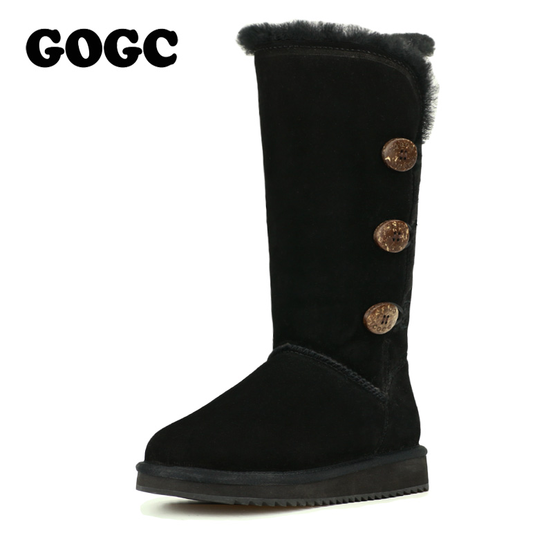 GOGC 2018 New Female Winter Boots Snow Boots Warm Women's Winter Boots with Wool Fur Comfortable Genuine Leather Women's Shoes