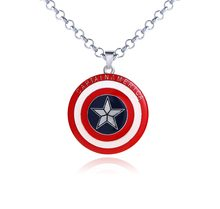 2 cores Hot Venda de Moda de Nova The Avengers Capitão América Super Hero escudo NecklaceMovie Elo Da Cadeia encantos Pingente de Jóias(China)