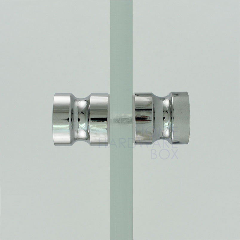 Shower Glass Door Knob Chrome Plated Back To Back Polished Metal