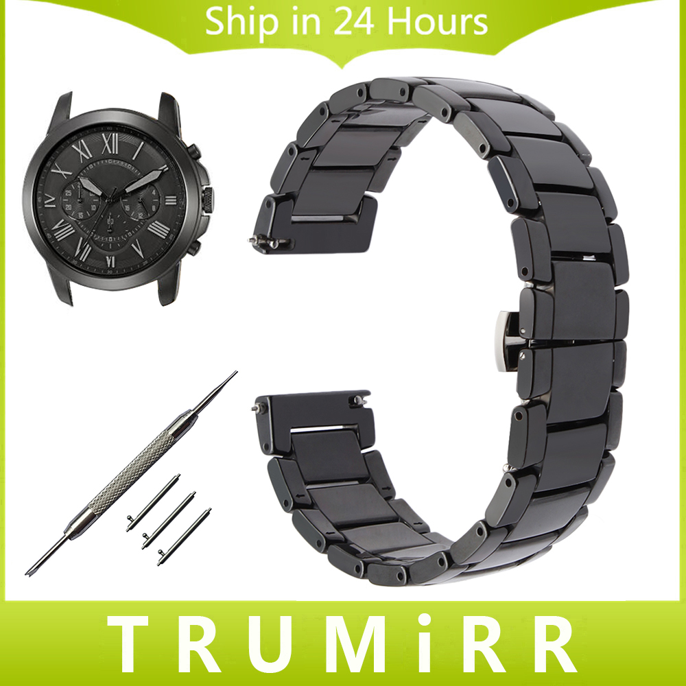 Quick Release Ceramic Watchband for Fossil Q Founder Wander Crewmaster Grant Marshal Watch Band Steel Butterfly Buckle Strap lucide подвесной светильник lucide vinti 02401 28 17