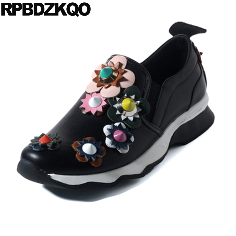 Rivet Flats Wide Fit Shoes Ladies Applique Luxury Sneakers Stud Genuine Leather Women Black Elevator Flower Thick Sole Fashion