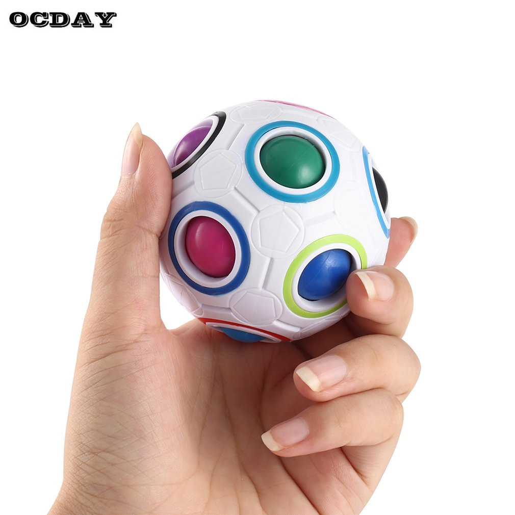 OCDAY Magic Rainbow Ball Spherical Magic Cube Anti Stress Rainbow Puzzles Balls Kids Educational Toys For Children Fidget Cube
