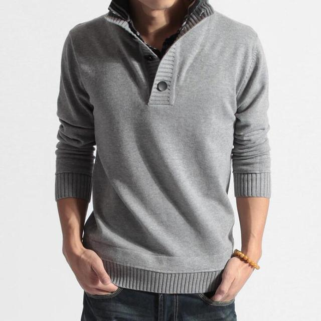 ZOEQO new mens fashion knitted sweaters men's Long sleeve pullover turndown Knitwear coat casual slim sweater men clothing 0423