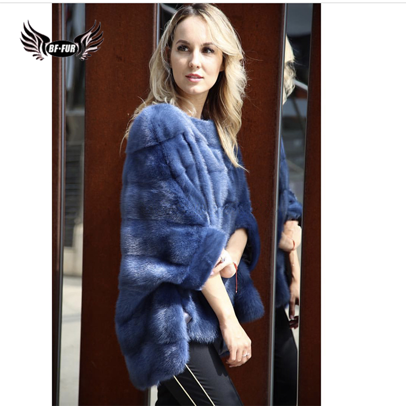 BFFUR Luxury Woman Real Mink Fur Coat Genuine Poncho Natural Winter Female Jacket Full Pelt Real Fur Cape Shawl Coat Mink Coats