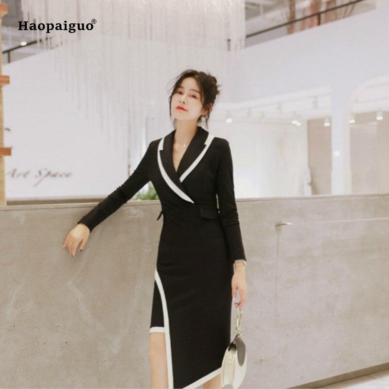 2018 femmes asymétrique robe automne noir à manches longues col rabattu mi-mollet décontracté bureau dame robe Goth robes Vintage
