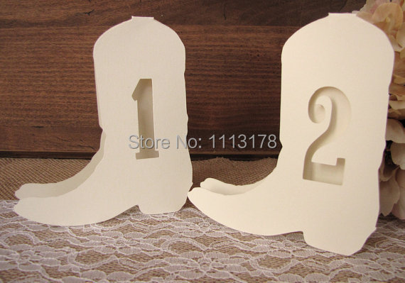 country wedding table numbers western cowboy wedding baptism decoration romantic event favor baby shower cutout scrapbook - Cowboy Decor
