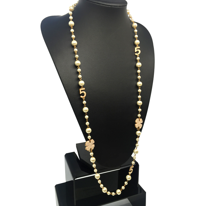 2017 CNANIYA Brand Jewelry Simulated Pearl Strand Long Necklace For Women Bijoux Femmes Collier
