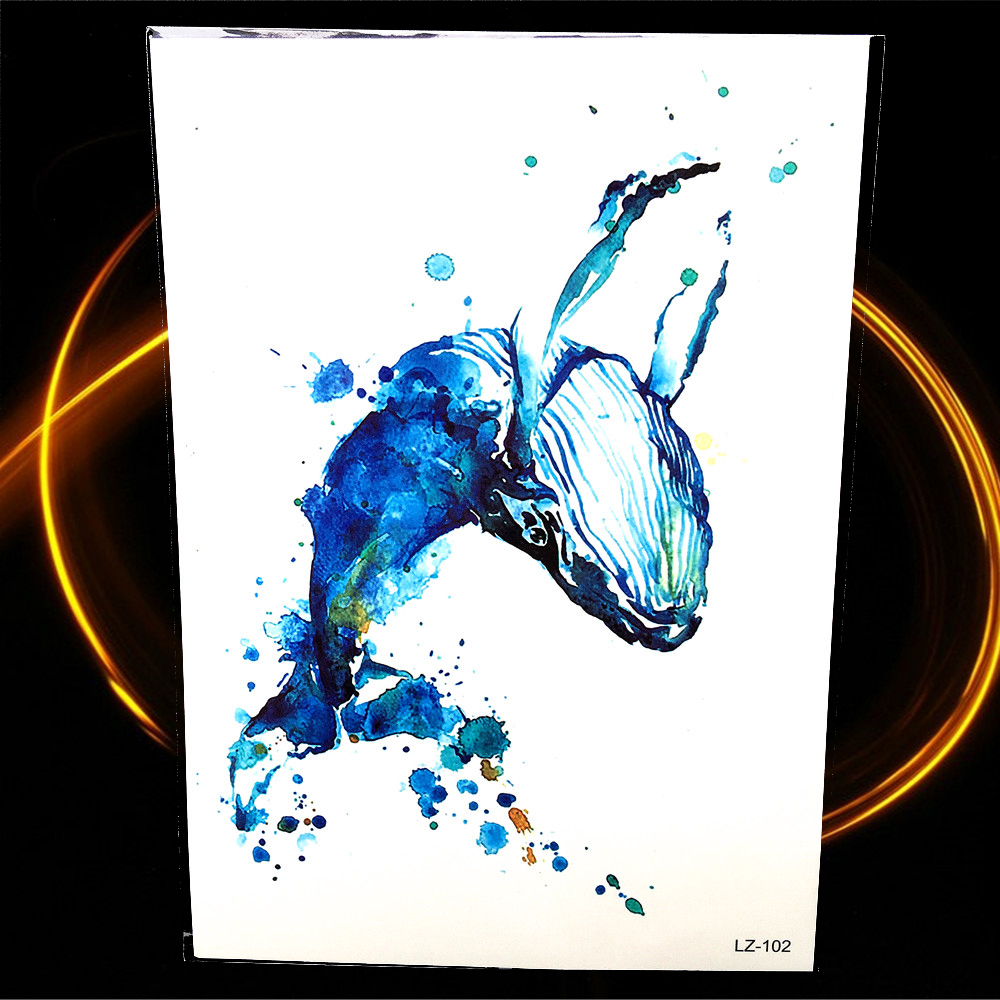 Dolphin Henna Tattoo: Blue Water Color Drawing Whale Tattoo For Women Henna