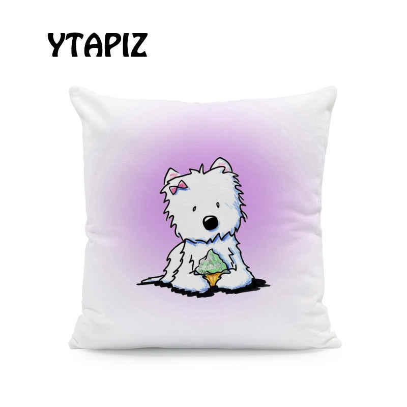 Милая подушка для домашних животных чехол белая лиса Шнауцер Shih Tzu галстук для собаки шляпа цветок кукольный Декор спальня диван наволочка 45*45 бархат