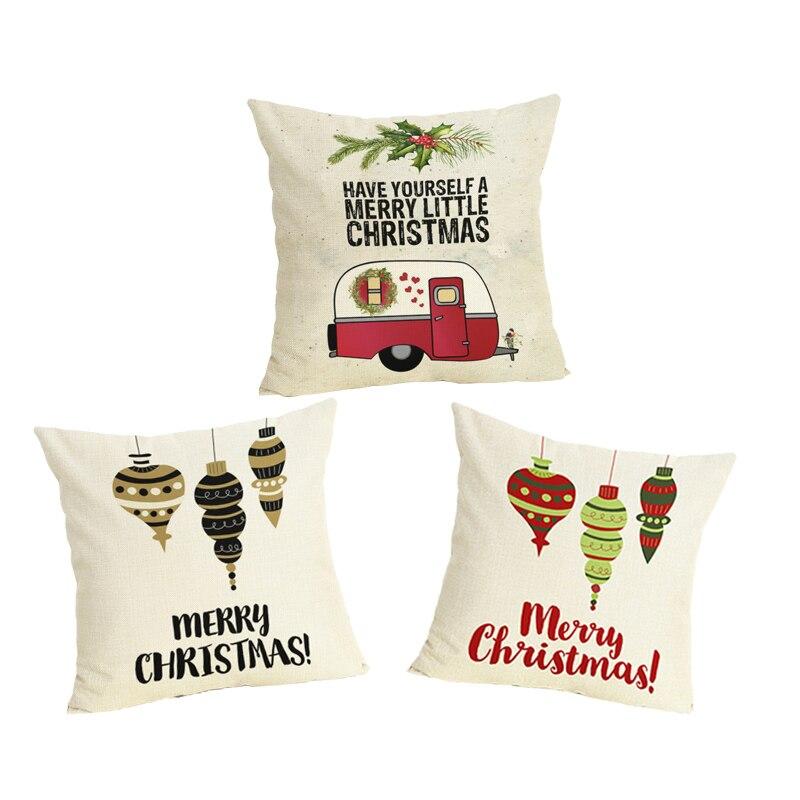 Comwarm Vrolijk Kerstfeest Brief Licht Patterm Eetkamerstoel Kussensloop Comfortabele Aanraken Slapen Kussensloop Op Couch Aantrekkelijke Ontwerpen;