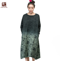 Jiqiuguer Brand Women S Vintage Long Sleeve O Neck Gradient Color Dresses Medium Long Print One