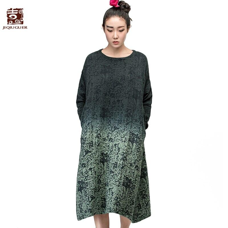 Jiqiuguer Brand women s vintage long sleeve o neck gradient color dresses