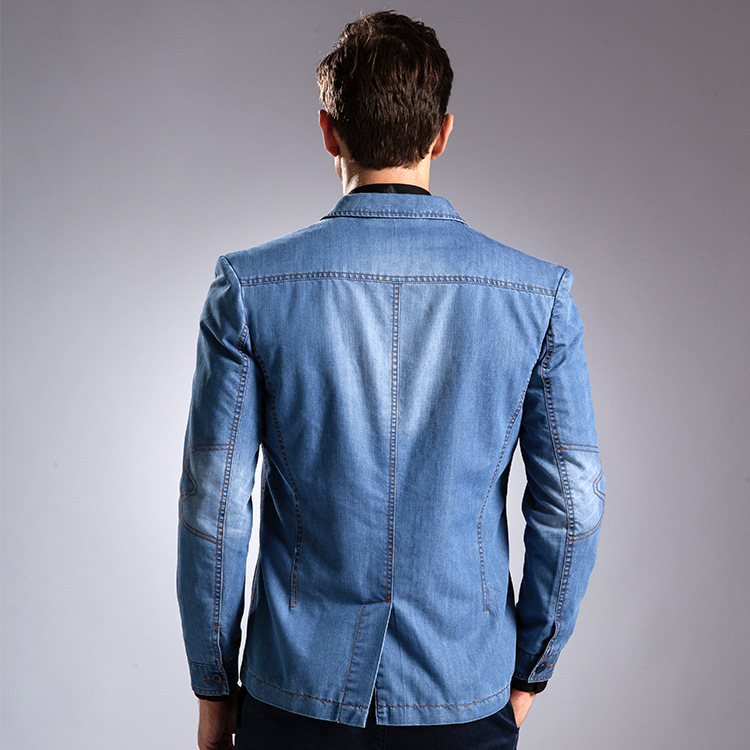 981ff418c € 102.8 |Ropa De Hombre de Moda 2016 Nueva Llegada Denim Chaqueta de Los  Hombres Slim Fit Trajes Blazers Blaser Masculino Casual de Los Hombres y ...