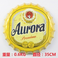 35cm Vintage Home Decoration Round Beer Bottle Cap Tin Sign Bar Pub Home Wall Decor Metal