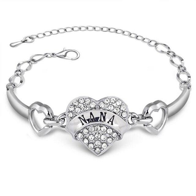 Нана Буквы Браслеты Femme Серебряный Кристалл Горный Хрусталь Сердце Браслет Для Семья Относительная Подарок Cristal Браслет