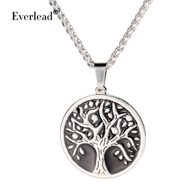 Fashion Tree of Life chain necklace pendant Stainless steel Round