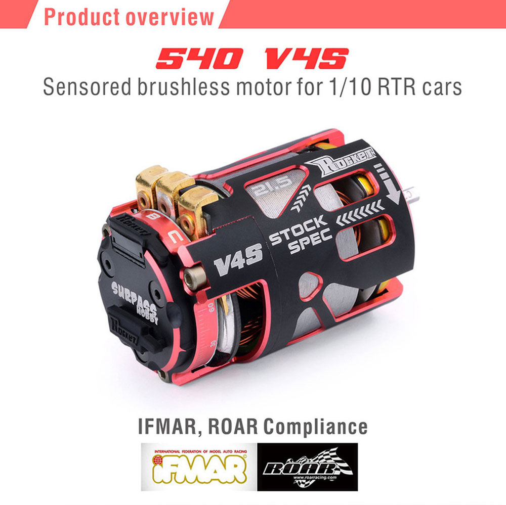 Rocket 540 V4S 13.5T 17.5T 21.5T 25.5T Sensored <font><b>Brushless</b></font> <font><b>Motor</b></font> and rotor for Spec Stock Competition 1/10 1/12 F1 <font><b>RC</b></font> Car image