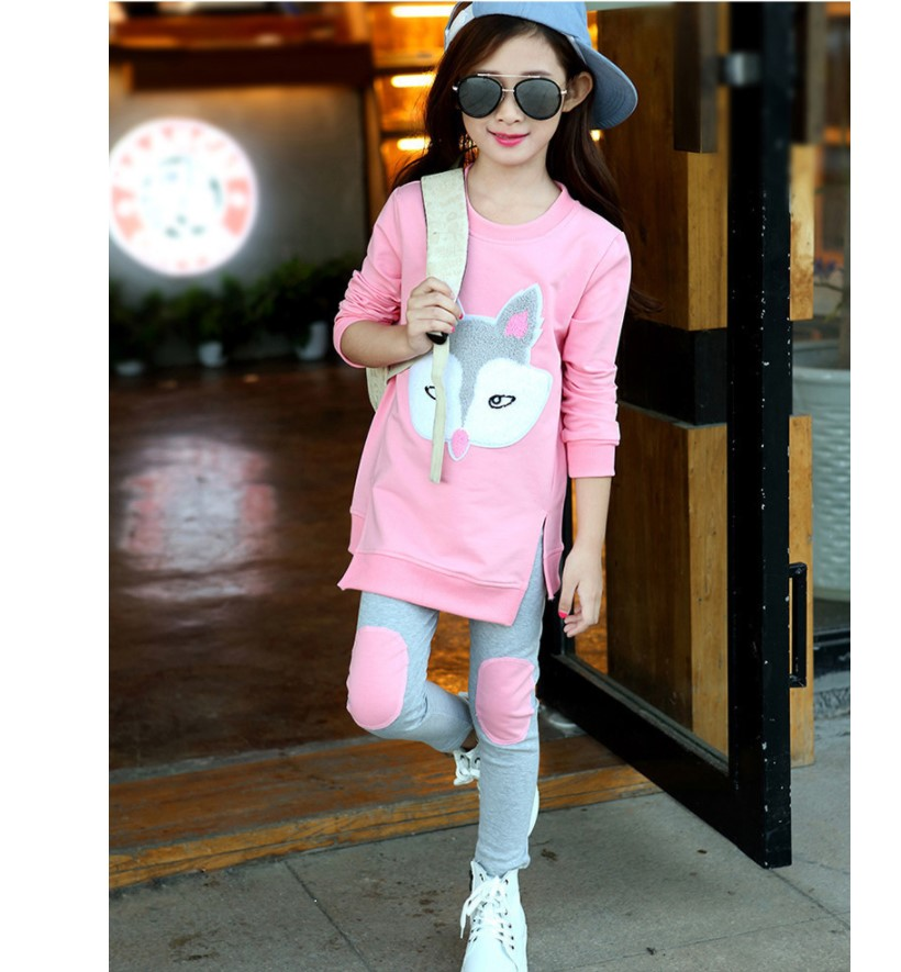 Autumn Kids Sets 2017 Cartoon Long Sleeve Two-piece Fox Suit Cotton Teenager Girls Clothing Pink Children's Sports Suits 6 Years