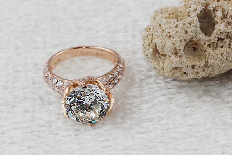 72a55e69d ... pt950 Stamp Luxury 4 carat lab diamond ring,Rose gold plated engagement  & wedding ring ...