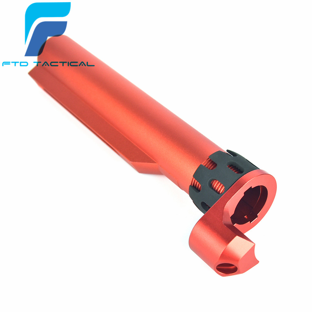 AR Enhanced Castle Nut & Extended End Plate in RED & 6 Position Stock Pipe For:AEG image