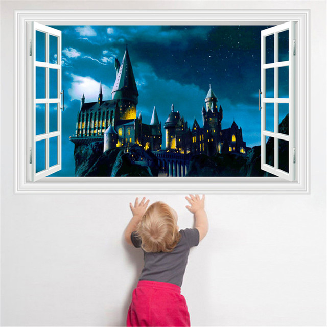 3D Harry Potter Wall Stickers School Of Magic Castle Stereo Window Scenery Of The Living room Baby Room Decor Wallpapers Murals