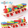Arpa Small Wooden Train And Dragging Three Carriage Geometric Shape Matching Early Childhood  toys for children Vehicles